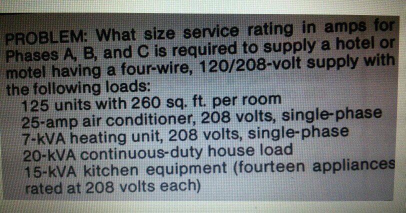 Solved: PROBLEM: What Size Service Rating In Amps For Phas ...
