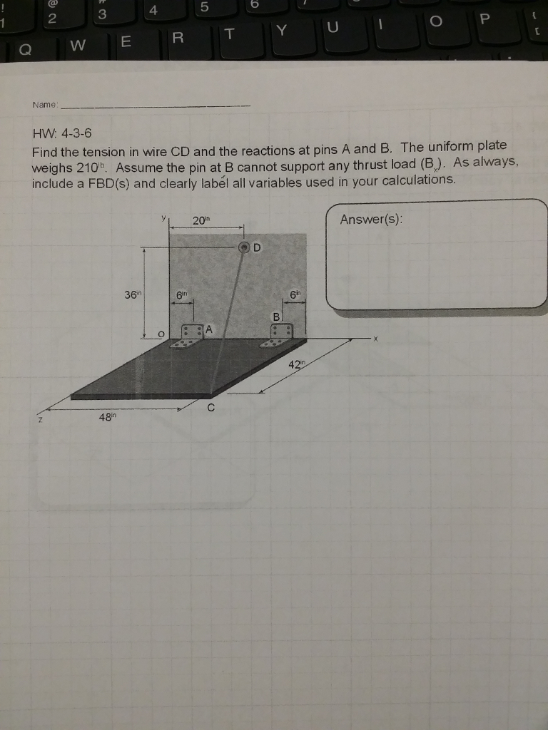 Solved: HW: 4-3-6 Find The Tension In Wire CD And The Reac ...