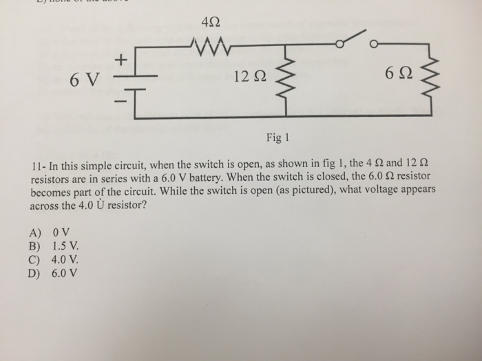 Solved: In This Simple Circuit, When The Switch Is Open, A ...
