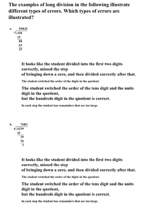 Solved The Examples Of Long Division In The Following Ill