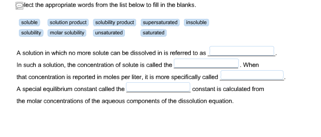 solved select the appropriate words from the list below t