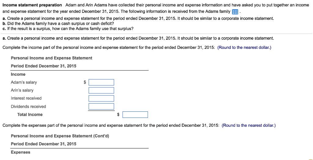 solved income statement preparation adam and arin adams h