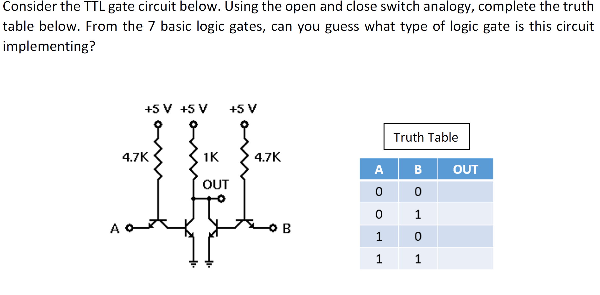 Solved Consider The Ttl Gate Circuit Below Using Ope Logic Diagrams