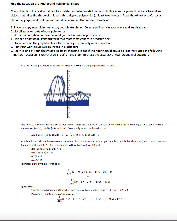 Solved Find The Equation Of A Real World Polynomial Shape