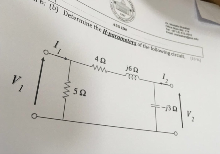 Determine the H-parameters of the following circui