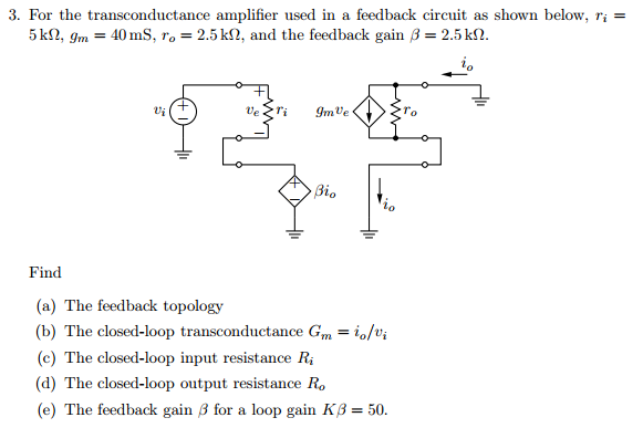 For the transconductance amplifier used in a feedb