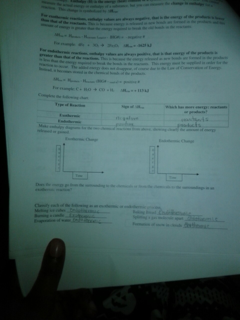 Solved Make Enthalpy Diagrams For Two Chemical Reactions