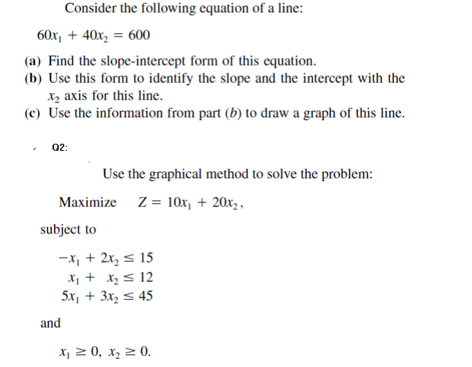 Solved Consider The Following Equation Of A Line 6x1