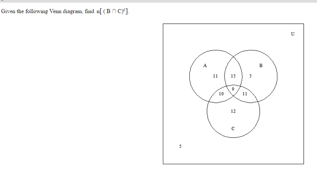 Solved Give The Following Venn Diagram Find Nb Intersec
