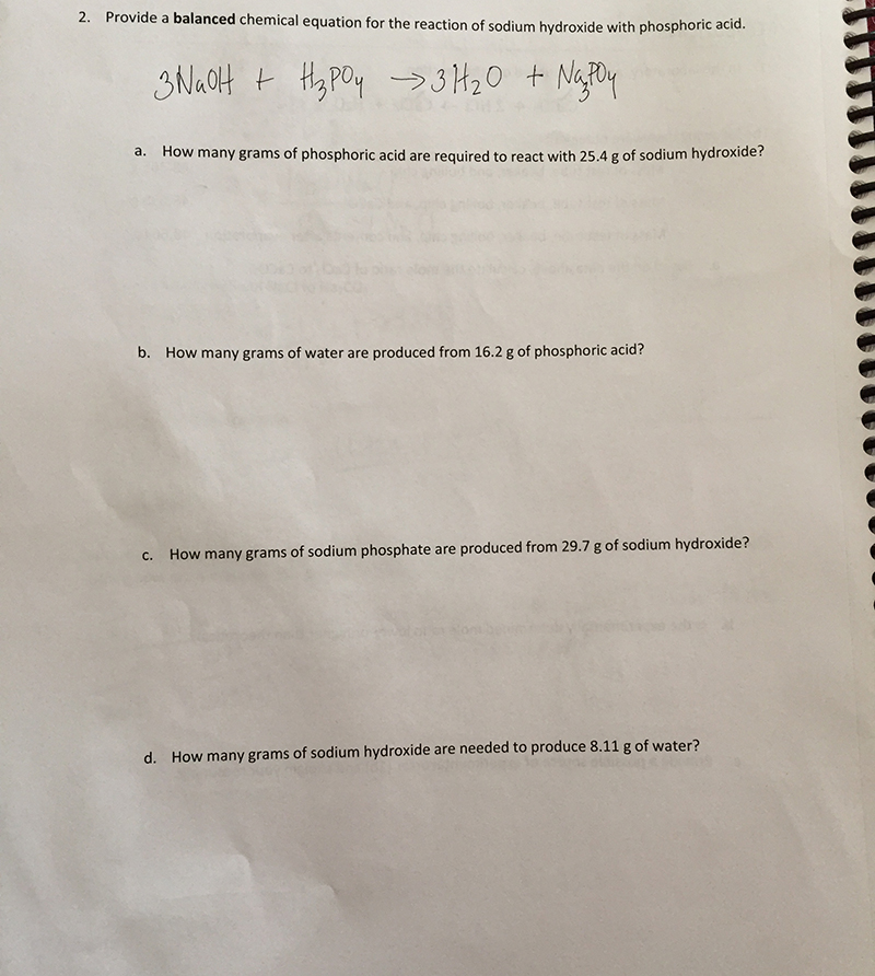 Solved 2 Provide A Balanced Chemical Equation For The Re