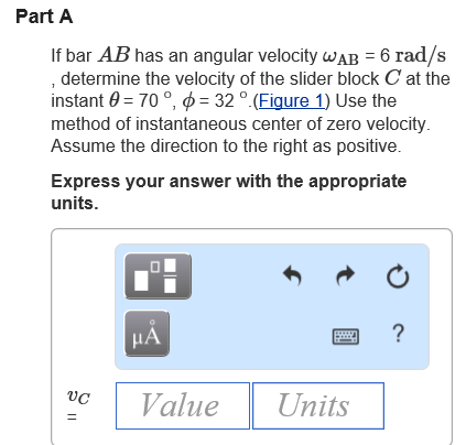 Solved: If Bar AB Has An Angular Velocity ?AB = 6 Rad/s