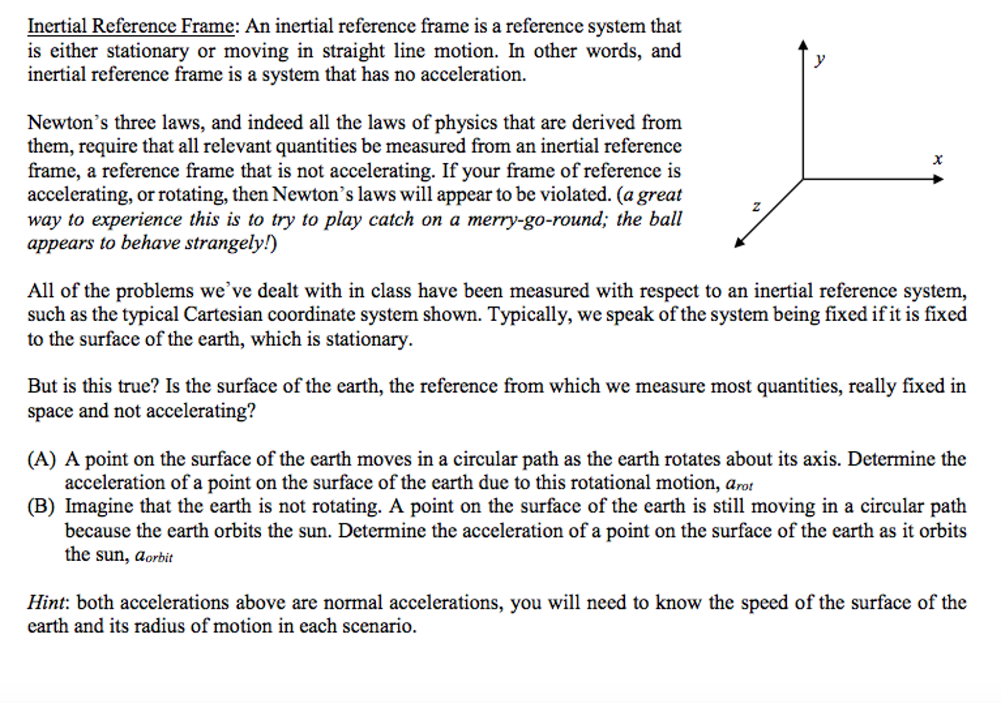 Solved: Inertial Reference Frame: An Inertial Reference Fr ...