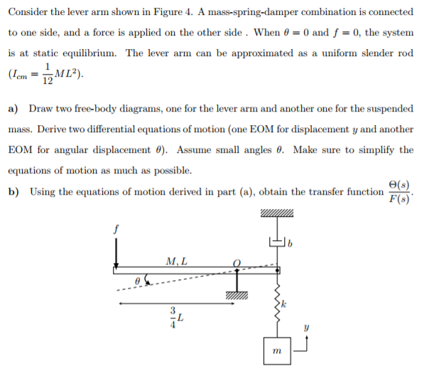 solved  consider the lever arm shown in figure 4  a mass