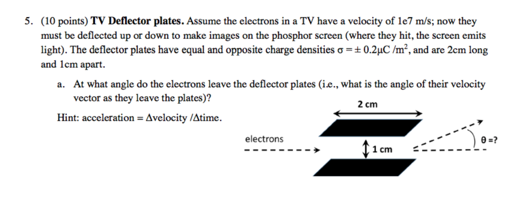 Solved 10 Points Tv Deflector Plates Assume The Electr