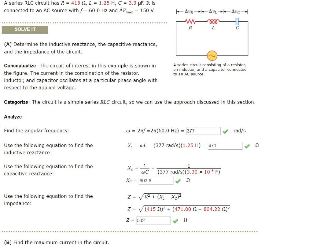 Solved: A Series RLC Circuit Has R = 415 Ω, L = 1.25 H, C ...