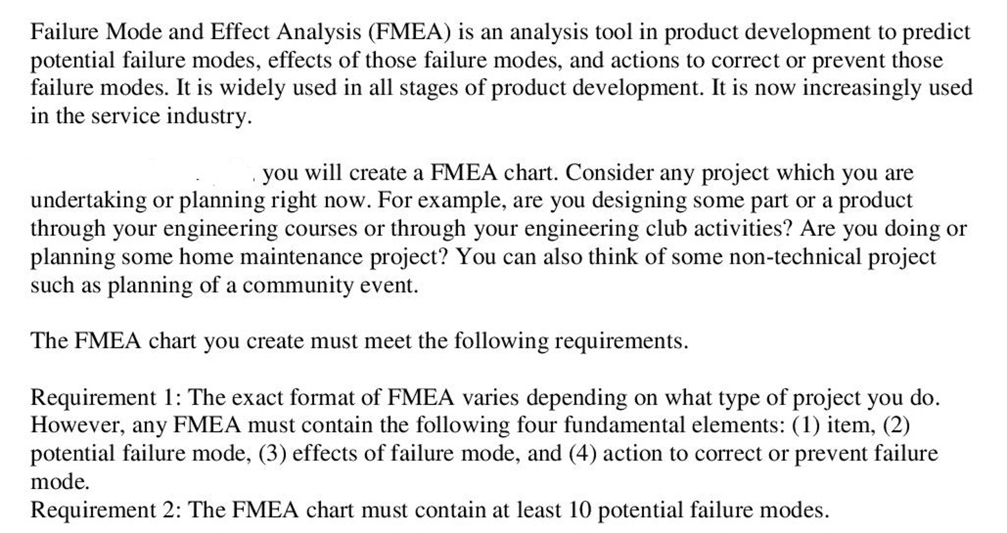 Failure Mode And Effect Analysis (FMEA) Is An Anal