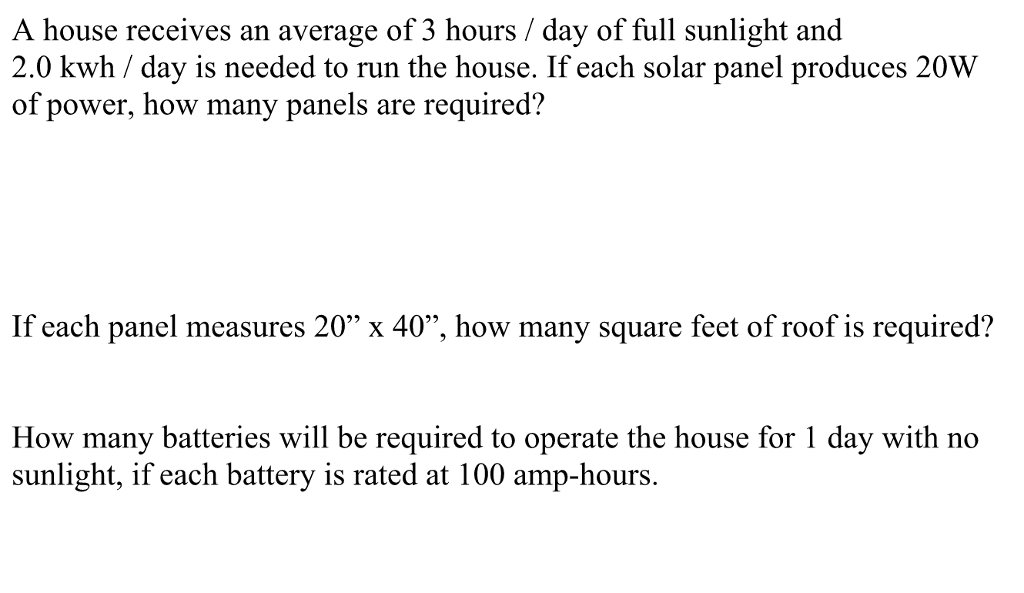 Solved: A House Receives An Average Of 3 Hours/day Of Full