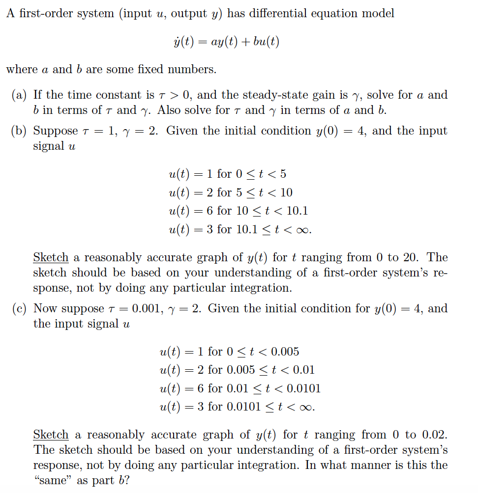 A Firstorder System (input U, Output Y) Has Differential Equation Model Y(