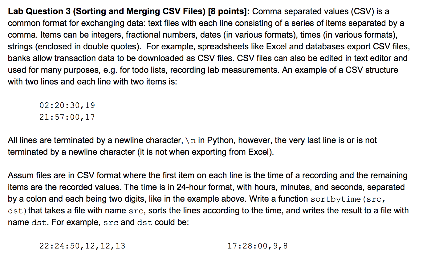Solved: Lab Question 3 (Sorting And Merging CSV Files) [8
