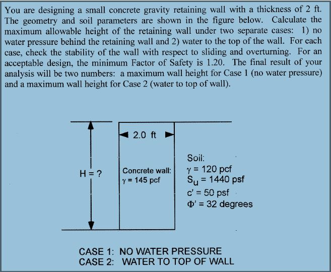 solved you are designing a small concrete gravity retaini