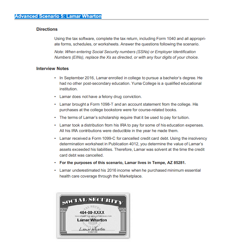 Solved Advanced Scenario 5 Lamar Wharton Httpsirs