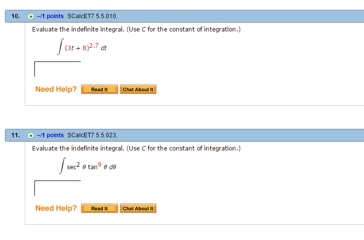 solved evaluate the indefinite integral use c for the c