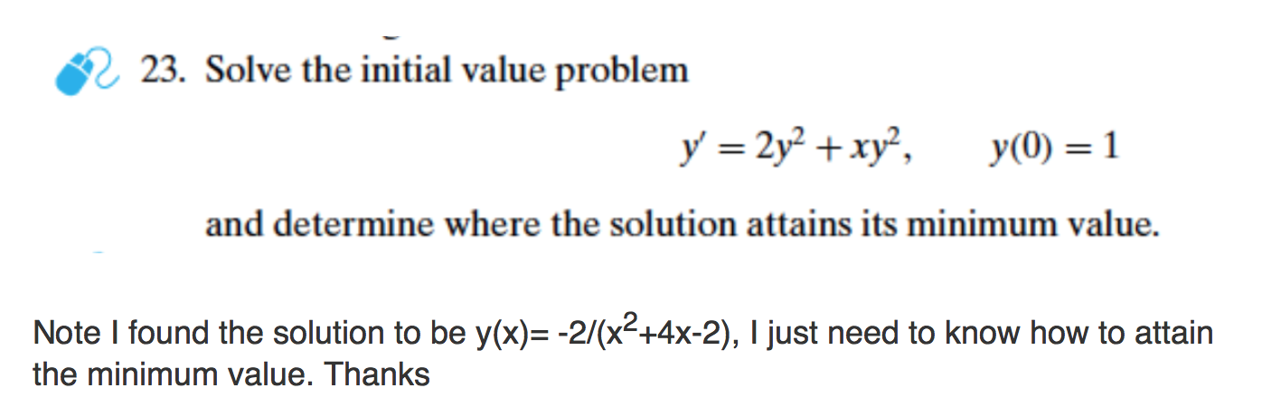 Solved: 23  Solve The Initial Value Problem Y' = 2y^2 + Xy