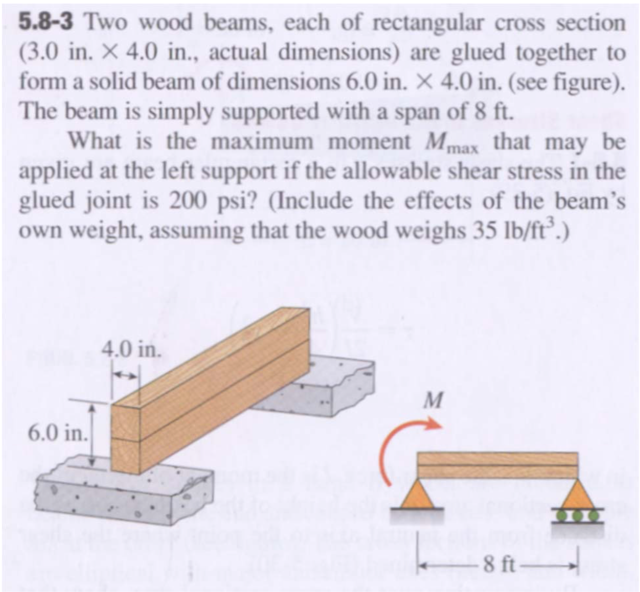 Question: Two Wood Beams, Each Of Rectangular Cross Section (3.0 In. Times  4.0 In., Actual Dimensions) Are.