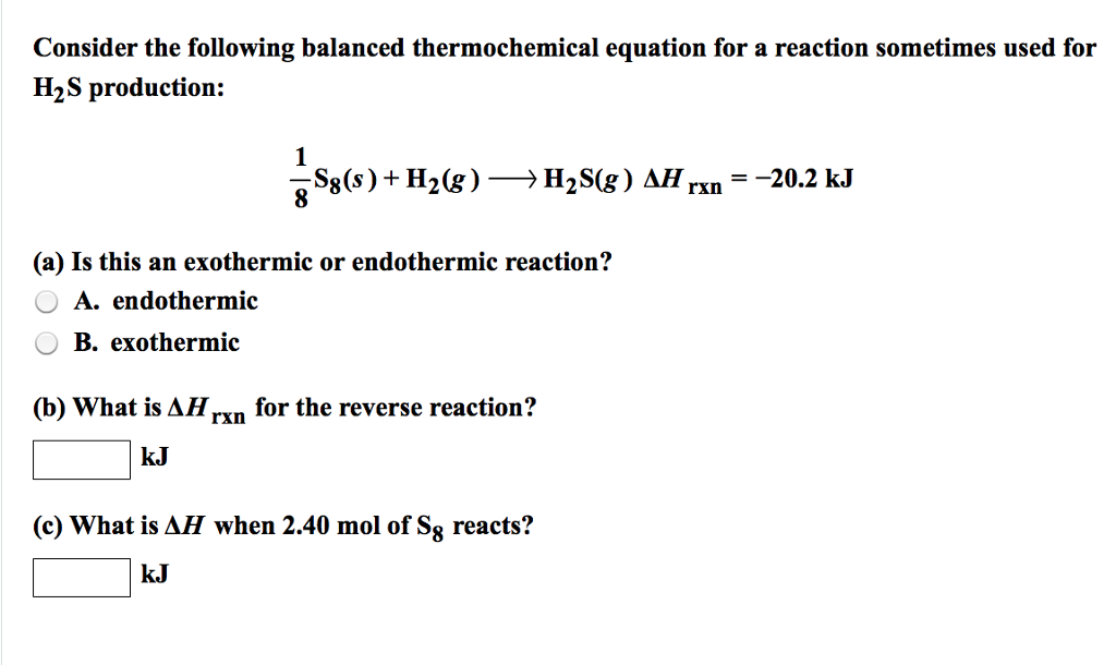 Solved: Consider The Following Balanced Thermochemical Equ