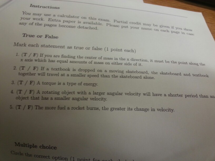 Solved Instructions You May Use A Calculator On This Exam