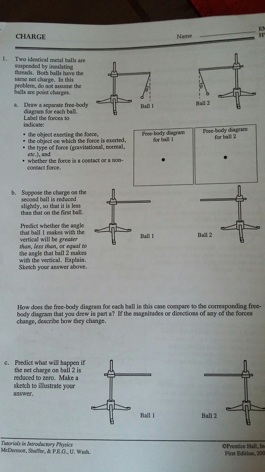 Solved Two Identical Metal Balls Are Suspended By Insulat Force Diagrams Worksheet Answers On Drawing Free Body Best Answer
