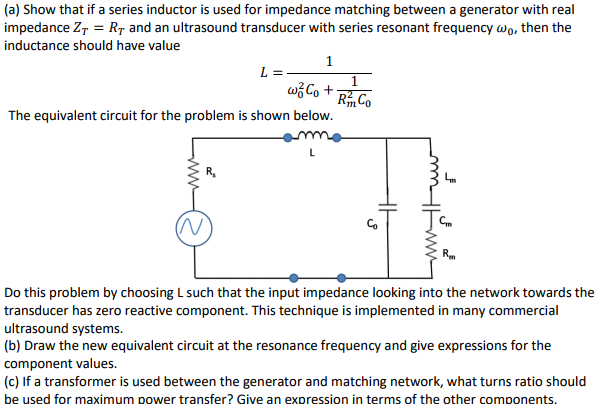 a) Show That If A Series Inductor Is Used For Imp    | Chegg com