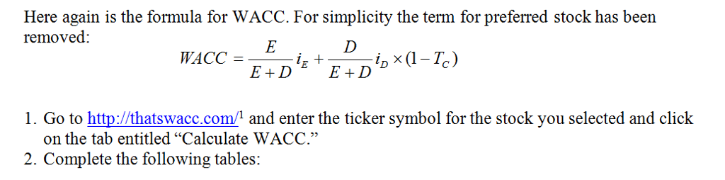Solved Here Again Is The Formula For Wacc For Simplicity