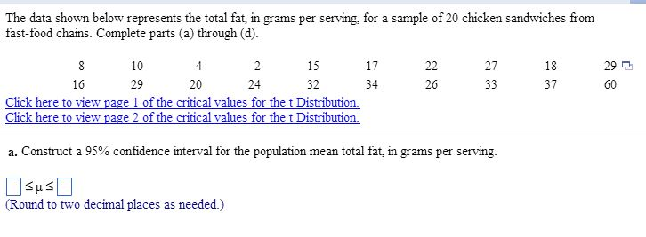 Solved The Data Shown Below Represents The Total Fat In G