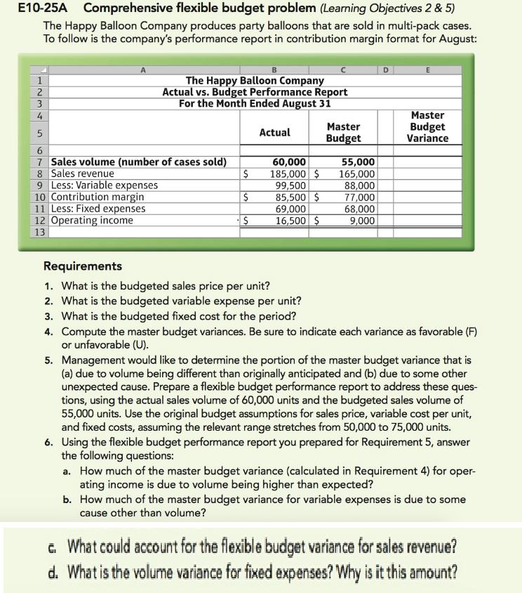 Solved E10 25a Comprehensive Flexible Budget Problem Lea