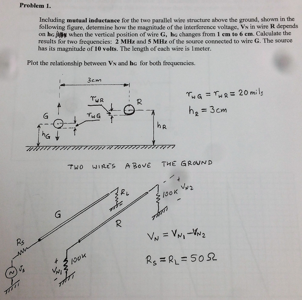 Problem 1. Including Mutual Inductance For The Two... | Chegg.com