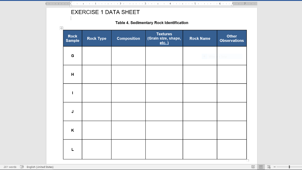 solved exercise 1 data sheet table 4 sedimentary rock id