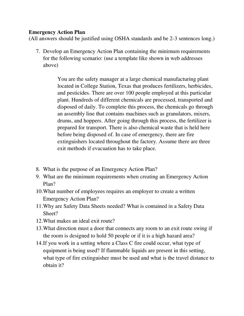 Solved: Emergency Action Plan (All Answers Should Be Justi