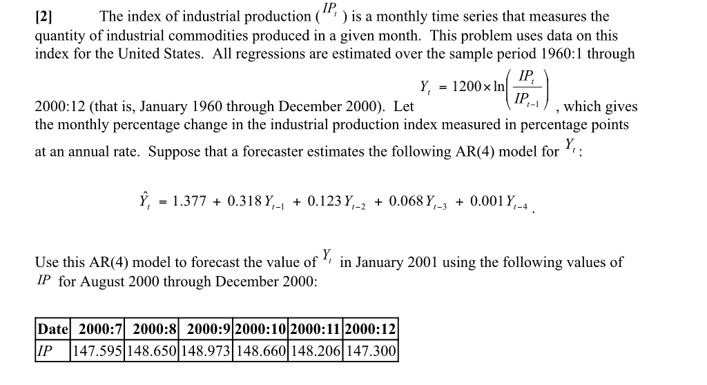 Solved: 12 The Index Of Industrial Production (