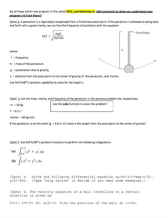 Solved A Pendulum Is A Rigid Object Suspended From A Fric