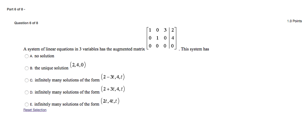 Solved: A System Of Linear Equations In 3 Variables Has Th