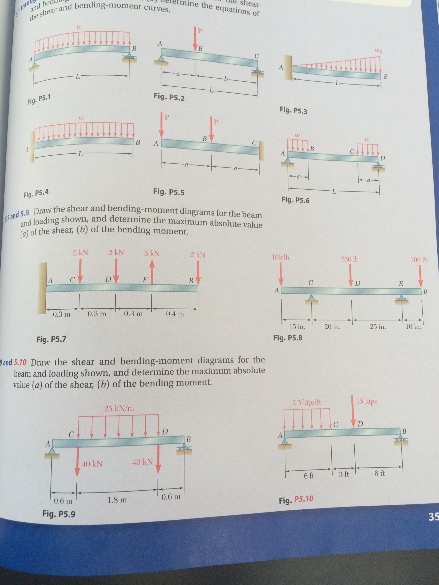 Solved 57 And 58 Draw The Shear Bending Moment Diag Text Bendingmoment Diagrams For Beam Loading Shown Determine Maximum Absolute Value A Of