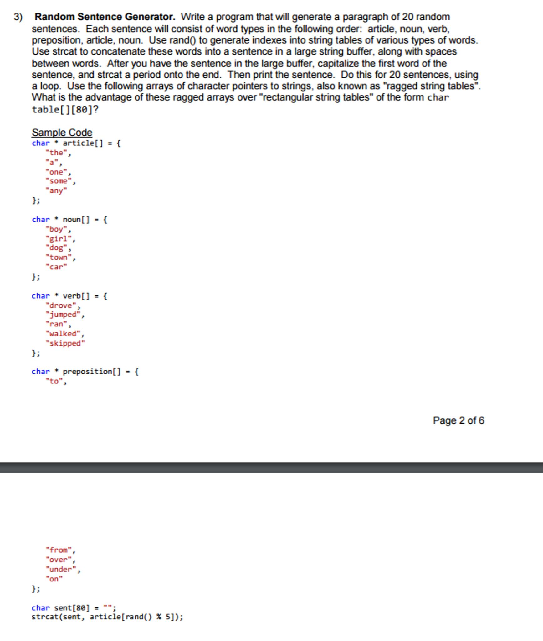 Random Sentence Generator  Write A Program That Wi