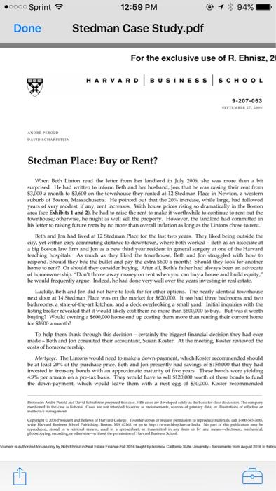 Solved: ○0000 Sprint令 12:59 PM イ* 94% Done Stedman Case