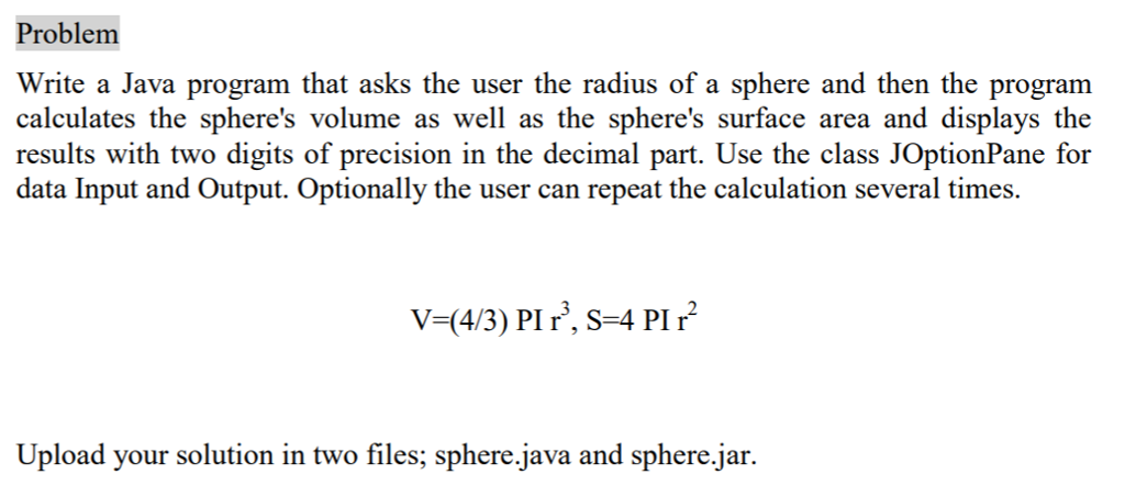 Solved Please Name The Files Sphere Java And Sphere Jar S