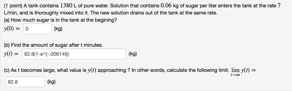 1 Point A Tank Contains 1380 L Of Pure Water Solution That Contains 0 06