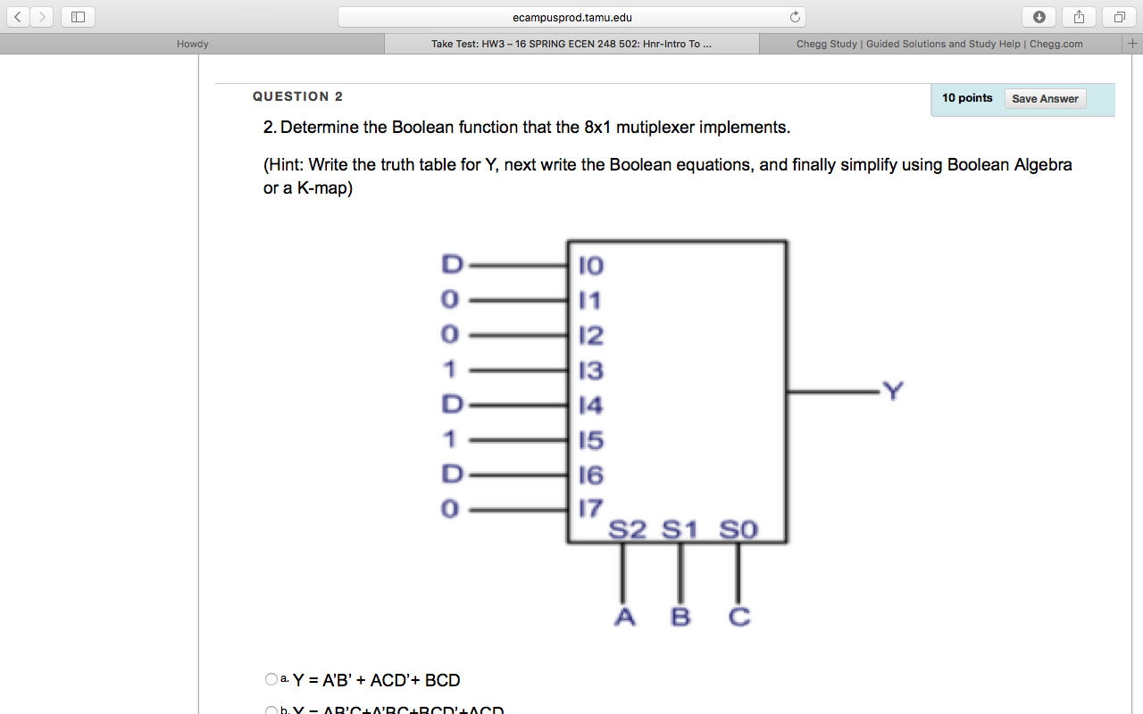 Determine the Boolean function that the 8 x 1 mult