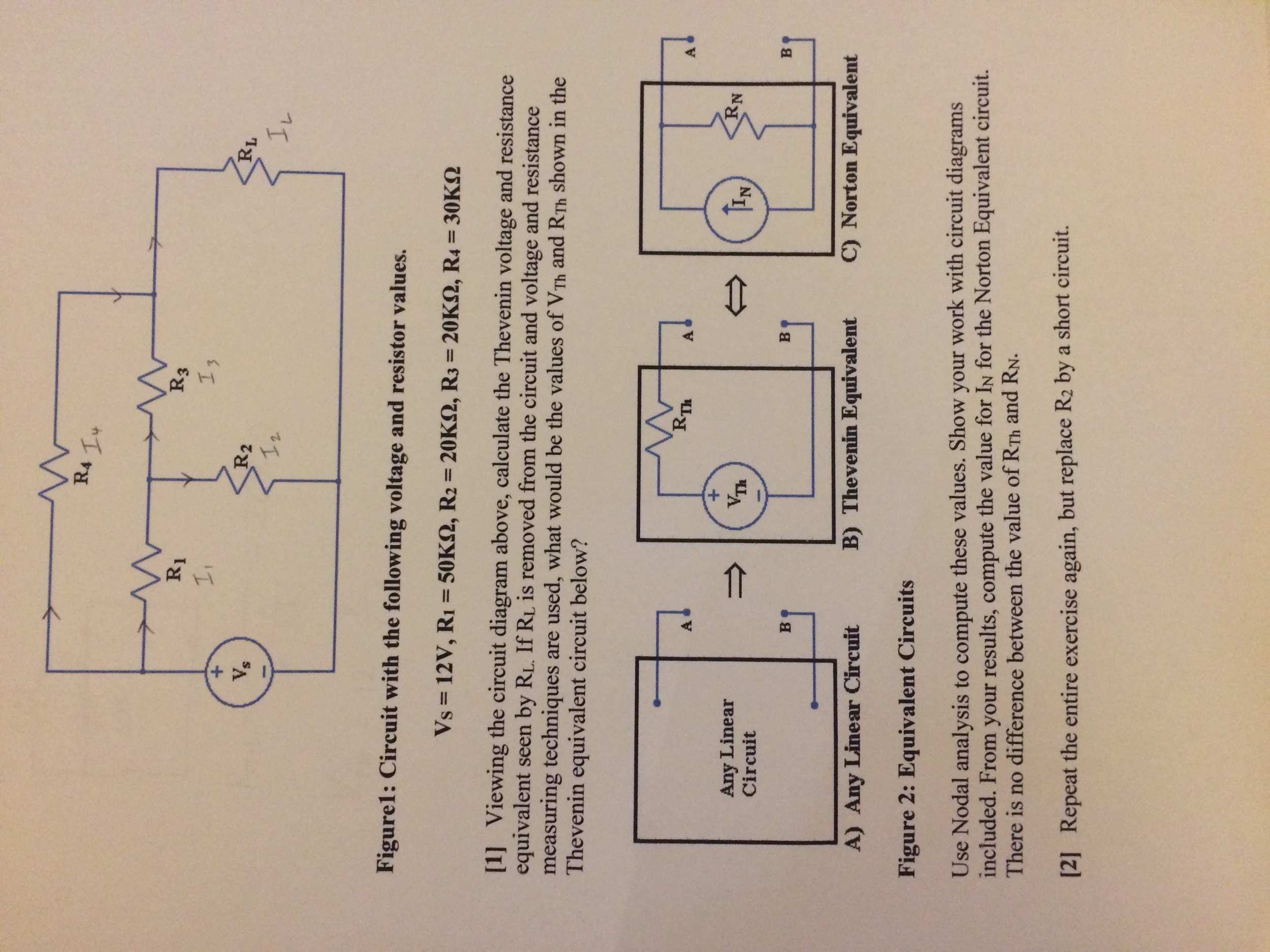 Solved Figure 1 Circuit With The Following Voltage And R Short Diagram Question Resistor Values Vs 12v R1 50k Omega R2