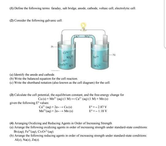 Solved 1 Define The Following Terms Faraday Salt Brid