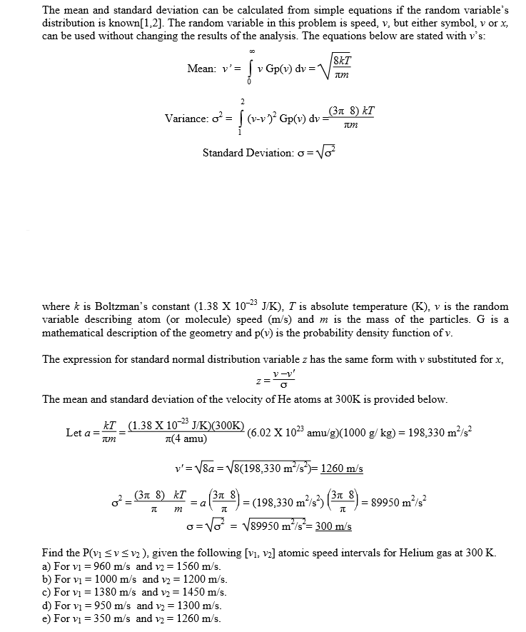 Solved The Mean And Standard Deviation Can Be Calculated